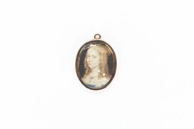 Ovalt miniatyrporträtt i gouache av Elsa Beata Brahe, 1629-1658, g.m. Hertig Adolf Johan av Pfalz-Zweibruecken.