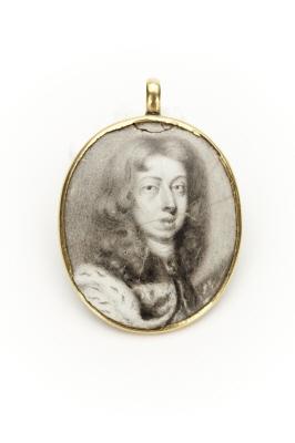 Ovalt miniatyrporträtt av Karl XI i sepia på emaljerad koppar.