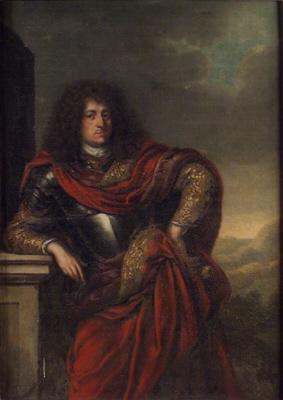 Generallöjtnant greve Johan Leonard Wittenberg, 1646-1679, g.m. Polydora Kristina Wrangel. Oljemålning på duk.