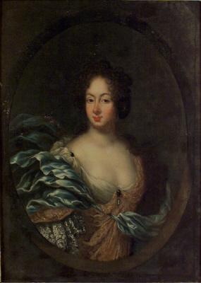 Amalia Wilhelmina Königsmarck, 1663-1740, g. 1689 m. Greve Carl Gustaf Lewenhaupt, Eller grevinnan Katarina Charlotta De la Gardie, 1655-1697, gift med fältmaskalken greve Otto Wilhelm von Königsmarck, Eller Maria Aurora von Königsmarck,1662-1728.  Oljemålning på duk.