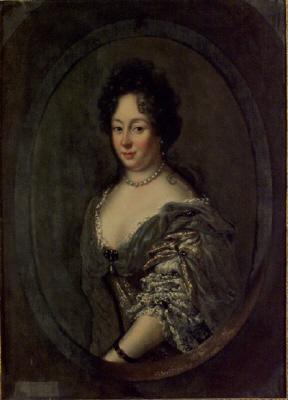 Grevinnan Maria Kristina Wrangel av Lindeberg, 1638-1691( Herman Wrangels dotter). Gift med greve Konrad Kristoffer Königsmarck. Oljemålning på duk.