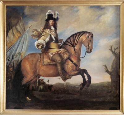 Riksmarskalken, riksamiralen, fältmarskalken, greve Karl Gustav Wrangel af Salmis, 1613-1676. Oljemålning på duk.