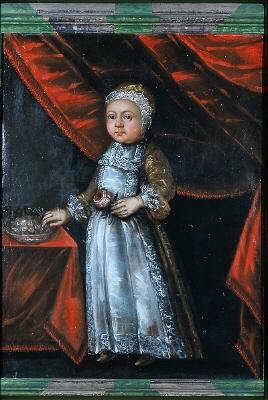 Ett av fältmarskalken Karl Gustav Wrangels barn, pojke ( obs! kilmössan!). Oljemålning på duk.