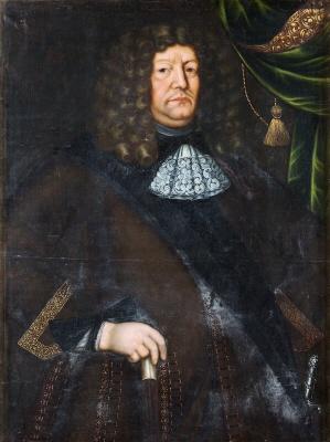 Föreställer troligen Gustaf Horn af Marienborg, fältmarsk, riksråd, 1614-1666. tidigare kallad okänd man. Oljemålning på duk.