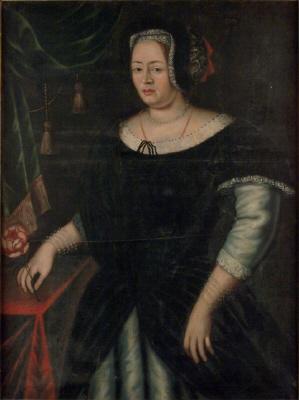 Föreställer troligen Barbro Kurck, g. 1644 m. Gustaf Horn af Marienborg, död 1658. Tidigare kallad okänd dam. Oljemålning på duk.