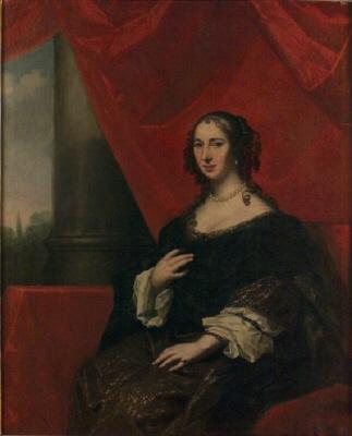 Grevinnan Anna Margareta von Haugwitz , 1622- 73. G. m.  greve Karl Gustav Wrangel. Oljemålning på duk.