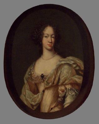 Grevinnan Eleonora Margareta Brahe, 1661- 1690, g. m. greve Karl Bonde af Björnö. Oljemålning på duk.
