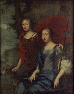 Porträtt av  1) Katarina , 1661-1720  och  2) Maria Elisabeth , 1663-1748 , av Pfalz-Zweibrücken , hertig Adolf Johan  d.ä : s  av Stegeborg döttrar. Oljemålning på duk.