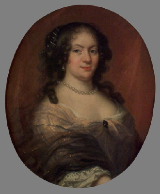 Märta Sparre , 1648-1703 , g.m.  1.) ryttmästaren , greve Leonard Lillie .  2.) riksrådet , friherre Sten Bielke. Oljemålning på duk , oval.