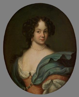 Maria Aurora von Königsmarck , 1660-1728. Oval oljemålning på duk.