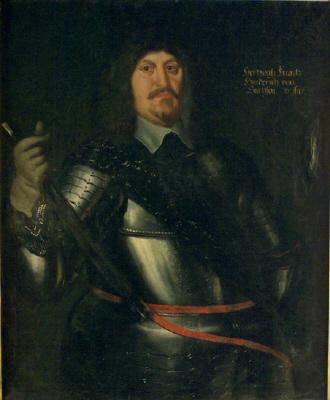 Frans Henrik av Sachsen-Lauenburg , hertig , överste. Oljemålning på duk.