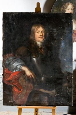 Gustav Otto Stenbock, 1614-85, greve,riksamiral, riksråd. Oljemålning på duk. Höftbild, fas höger, stående.