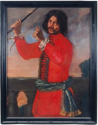Hindrik Hasenberger, narr hos Carl Gustaf Wrangel. Oljemålning på duk.