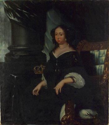 Hedvig Eleonora, 1635-1715, drottning av Sverige. Oljemålning på duk. Knäbild, fas vänster.