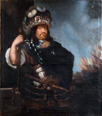 Karl X Gustav, 1622-1660, konung av Sverige. Höftbild, fas höger, stående.