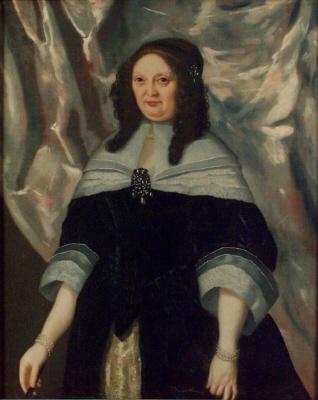 Leonora Kristina Ulfeldt, 1621-1698, grevinna av Schleswig-Holstein, gift med Korfitz Ulfeldt eller Magdalena Sibylla av Sachsen 1617-1668, eller Anna Croy-Aerschot, 1590-1660. Syster till Bogislav XIV. Oljemålning på duk. Höftbild, fas vänster, stående.