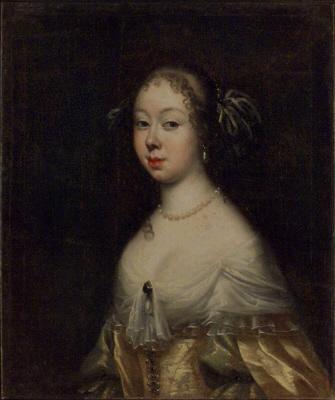 Ingeborg Axelsdotter Baner, 1641-1675, gift med friherre Begnt Horn av Åminne.  Oljemåning på duk. Midjebild fas vänster.
