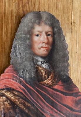 Clas Rålamb, 1622-1698, friherre, riksråd. Kontursågad oljemålning på pannå.