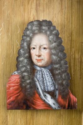 Bengt Oxenstierna af Korsholm och Wasa, greve, riksråd, 1623-1702. Oljemålning på kontursågad furupannå med infälld nara.