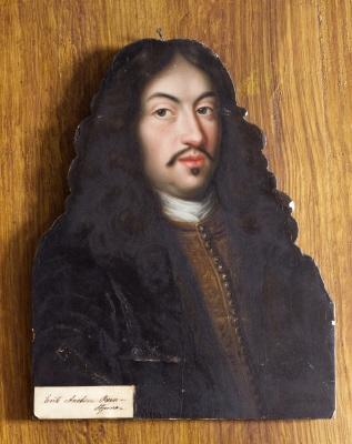Erik Axelsson Oxenstierna av Södermöre, greve. riksråd, 1624-1656. Oljemålning på kontursågad furupannå med infälld nara.