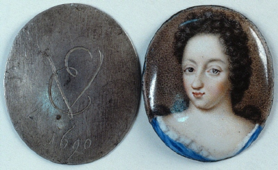 Miniatyrporträtt av drottning Ulrika Eleonora d.ä. av Sverige (1656-1693), 1690.
