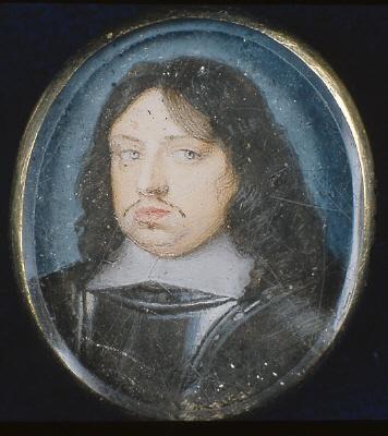 Miniatyrporträtt av konung Karl X Gustav av Sverige (1622-1660),1650-talet.