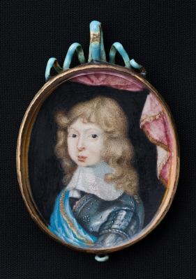 Miniatyrporträtt av konung Karl XI av Sverige (1655-1697) som barn, ca 1662.