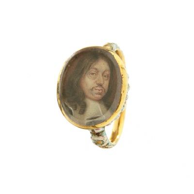 Ring med miniatyrporträtt av konung Karl X Gustav (1622-1660), 1650-tal.