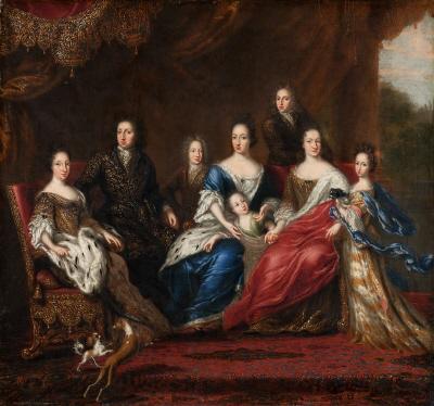 Grupporträtt av Karl XI:s familj, utförd av hovmålaren David Klöcker Ehrenstrahl (1629-1698).