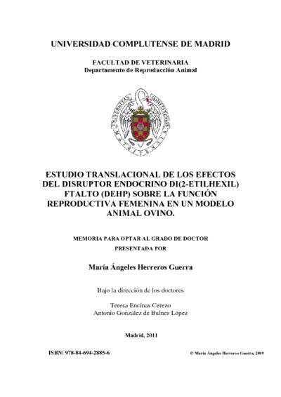 Estudio translacional de los efectos del disruptor endocrino di(2-etilhexil) ftalto (DEHP) sobre la función reproductiva femenina en un modelo animal ovino