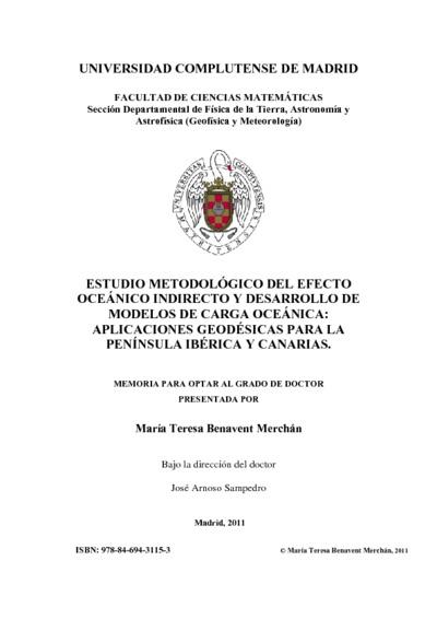 Estudio metodológico del efecto oceánico indirecto y desarrollo de modelos de carga oceánica aplicaciones geodésicas para la península Ibérica y Canarias