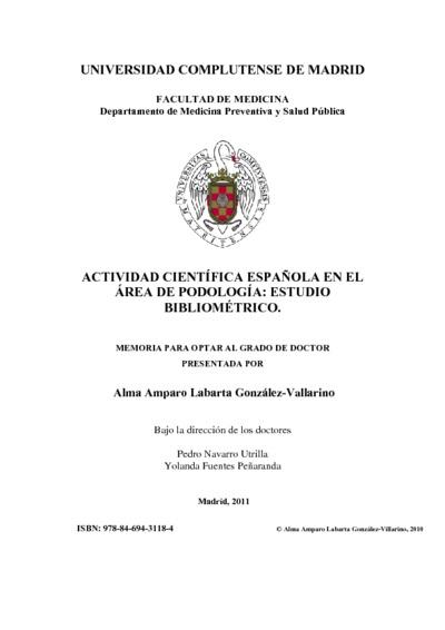 Actividad científica española en el área de podología estudio bibliométrico