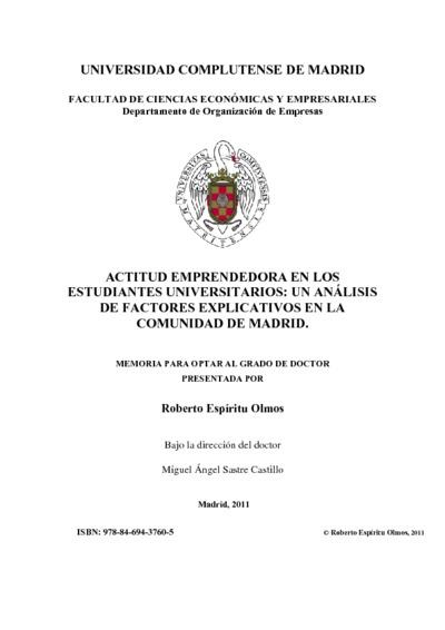 Actitud emprendedora en los estudiantes universitarios un análisis de factores explicativos en la Comunidad de Madrid