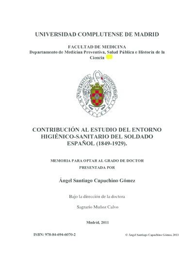 Contribución al estudio del entorno higiénico-sanitario del soldado español (1846-1929)