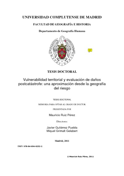 Vulnerabilidad territorial y evaluación de daños postcatástrofe una aproximación desde la geografía del riesgo