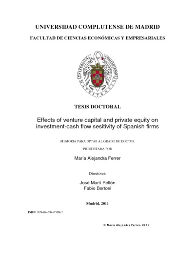 Effects of venture capital and private equity on investment-cash flow sesitivity of Spanish firms