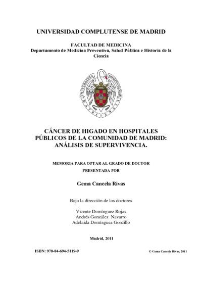 Cáncer de hígado en hospitales públicos de la Comunidad de Madrid análisis de supervivencia