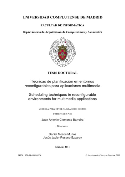 Técnicas de planificación en entornos reconfigurables para aplicaciones multimedia Scheduling techniques in reconfigurable environments for multimedia applications