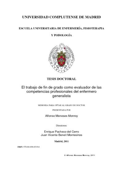 El trabajo de fin de grado como evaluador de las competencias profesionales del enfermero generalista