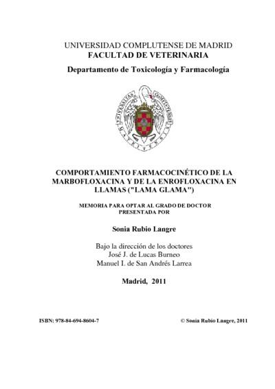 Comportamiento farmacocinético de la marbofloxacina y de la enrofloxacina en llamas (Lama glama)