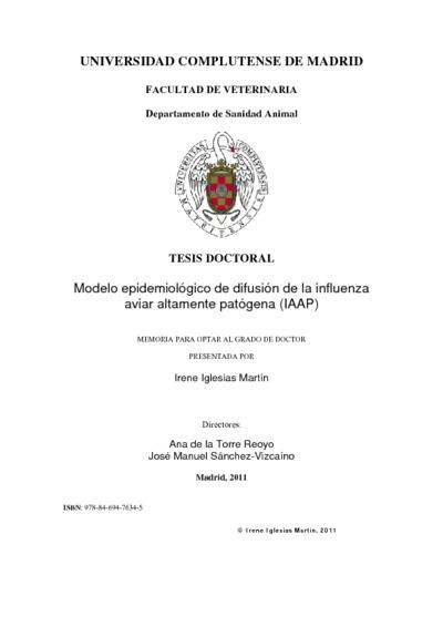 Modelo epidemiológico de difusión de la influenza aviar altamente patógena (IAAP)