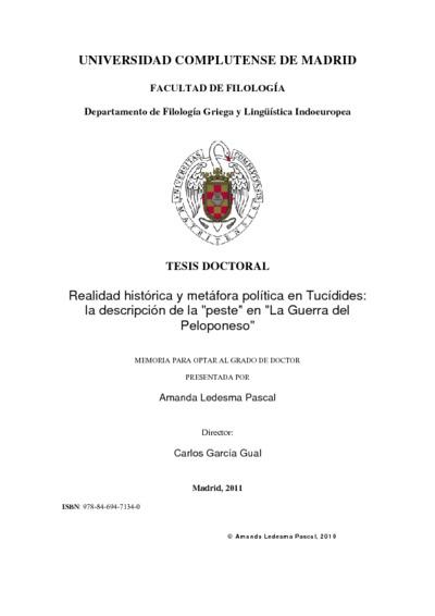 Realidad histórica y metáfora política en Tucídides la descripción de la peste en La Guerra del Peloponeso