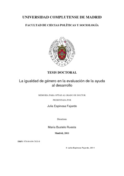 La igualdad de género en la evaluación de la ayuda al desarrollo los casos de la cooperación oficial británica, sueca y española