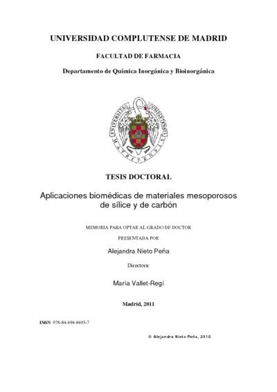 Aplicaciones biomédicas de materiales mesoporosos de sílice y de carbón