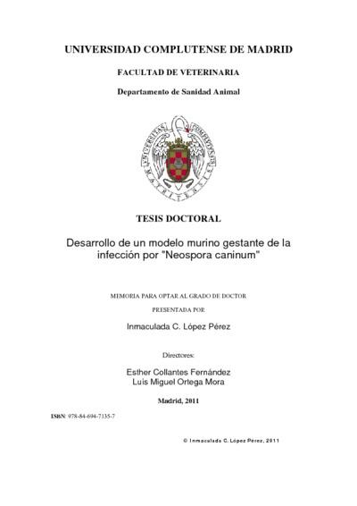 Desarrollo de un modelo murino gestante de la infección por Neospora caninum