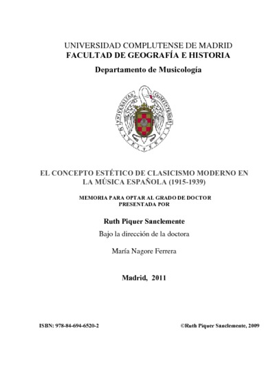 El concepto estético de clasicismo moderno en la música española (1915-1939)
