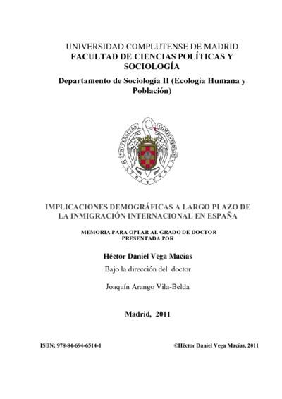 Implicaciones demográficas a largo plazo de la inmigración internacional en España