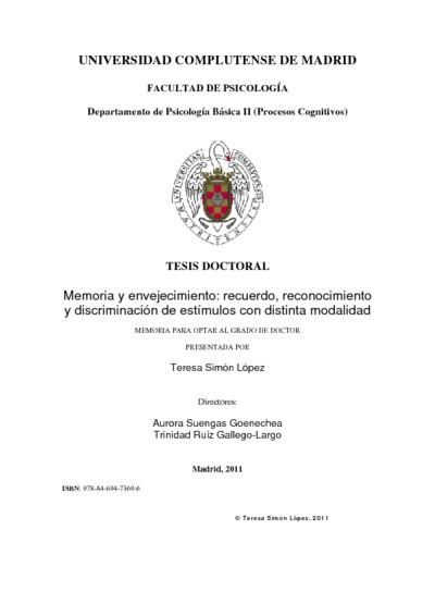 Memoria y envejecimiento recuerdo, reconocimiento y discriminación de estímulos con distinta modalidad