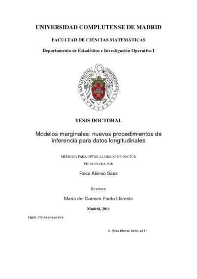 Modelos marginales nuevos procedimientos de inferencia para datos longitudinales