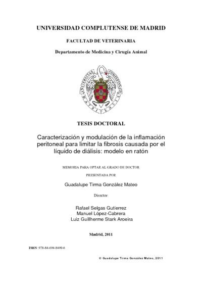 Caracterización y modulación de la inflamación peritoneal para limitar la fibrosis causada por el líquido de diálisis modelo en ratón